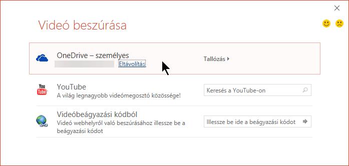 A Videó beszúrása párbeszédpanelen szerepel a OneDrive-ról származó videó beágyazására szolgáló lehetőség is.