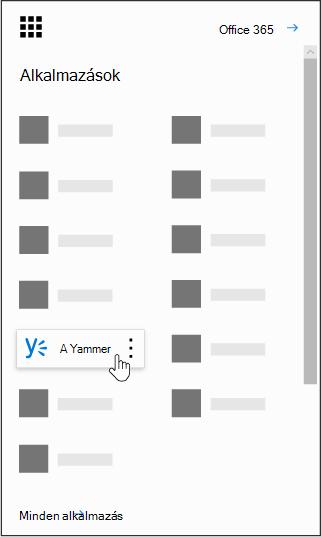 Az Office 365 alkalmazásindítójához, és a Yammer alkalmazás kiemelve