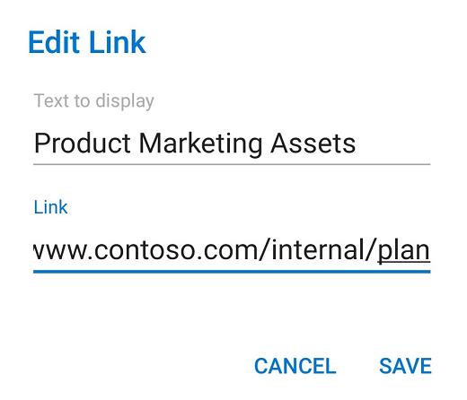 Az Android Outlook hivatkozásszerkesztő párbeszédpanelje.