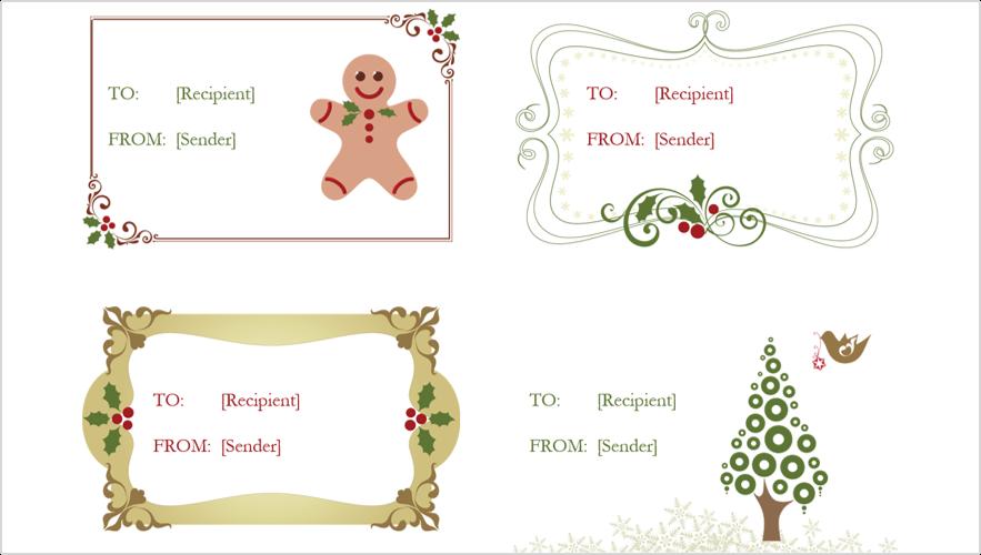 4 ünnepi ajándék címke képe
