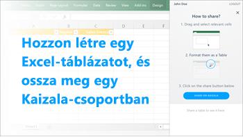 Képernyőkép: Excel-táblázat létrehozása és megosztása egy Kaizala-csoportban
