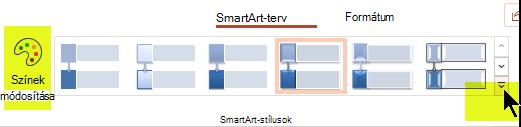 Módosíthatja a grafikus elem színét és stílusát a menüszalag SmartArt-terv lapjának beállításaival.