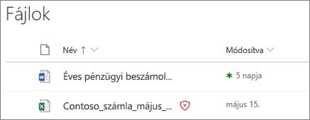 Képernyőkép: a OneDrive vállalati verzióban lévő fájlok egyike kártevőként észlelve