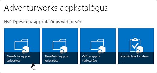 Az Első lépések az alkalmazáskatalógus webhelyén csempék a kiemelt SharePoint-appok terjesztése elemmel.