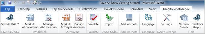 A Save as DAISY bővítményhez tartozó Accessibility menüszalaglap