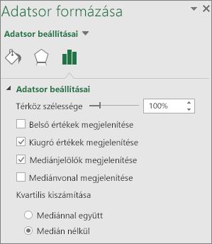 A Dobozos ábra beállításait tartalmazó Adatsor formázása munkaablak a Windows Office2016-ban