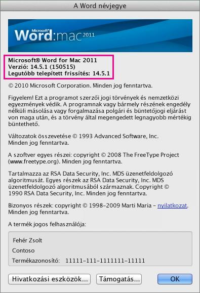 A Word névjegye lap a Word for Mac 2011-ben