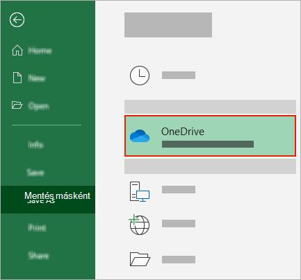 Az Office Mentés másként párbeszédpanelje a OneDrive mappával