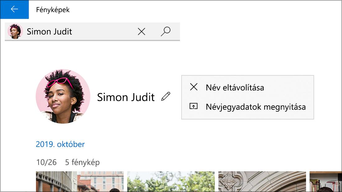Képernyőkép egy névjegyről, amelyen látható a Név eltávolítása beállítás.