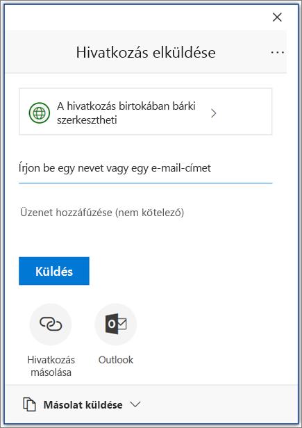 Megosztás ikon és párbeszédpanel