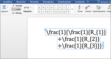 LaTex-egyenletet tartalmazó Word-dokumentum