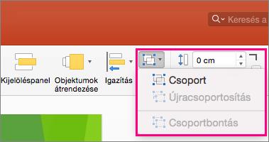 A menüszalagon lévő Csoport ikont ábrázolja a Mac PowerPoint 2016-ban