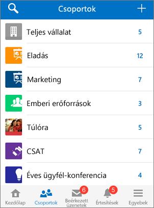 Képernyőkép: Csoportok a Yammer mobilalkalmazásban