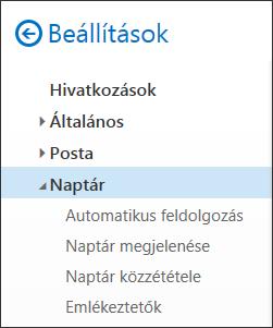 A Webes Outlook naptárbeállításai