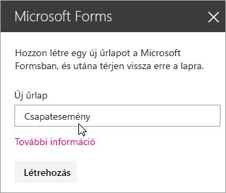 A Microsoft Forms kijelző ablaktábla egy új űrlapon.