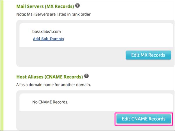Kattintson az Edit CNAME Records Host Aliases csoportban