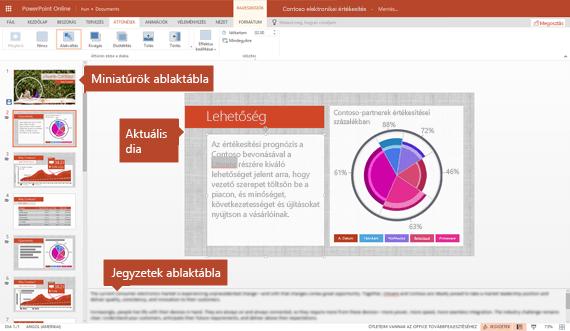 A Szerkesztőnézet a PowerPoint online-ban