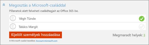 """Képernyőkép: közelkép a """"Felhasználó hozzáadása"""" párbeszédpanel """"Megosztás a Microsoft-családdal"""" csoportjáról a """"Kijelölt személyek hozzáadása"""" gombbal."""
