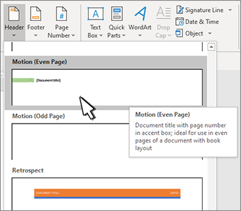 Header style selection dialog with one selected