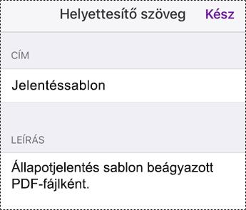 Helyettesítő szöveg hozzáadása beágyazott fájlhoz az iOS OneNote-ban