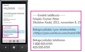 A Bekapcsolódás Lync-értekezletbe felkérést mutató kép a Lync mobiltelefonos webalkalmazásból