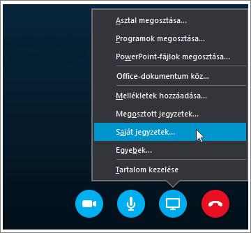 Képernyőkép, mely szemlélteti, hogyan oszthat meg OneNote 2016-jegyzeteket a Skype Vállalati verzióban.