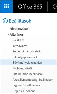 Képernyőkép az Outlook Beállítások menüjének Általános szakaszáról, amelyben a Bővítmények kezelése lehetőség van kiemelve