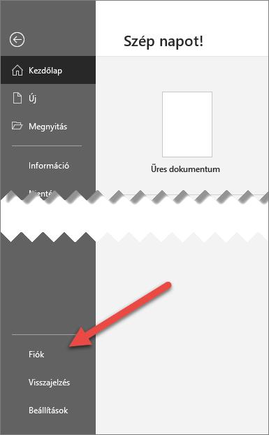 A Fájl lap az Office-ban egy, a Fiók beállításra mutató nyíllal