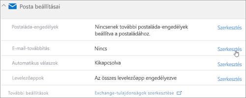 Képernyőkép: A Szerkesztés gombra kattintva konfigurálja az e-mail-továbbítást