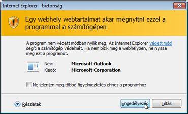 Az Internet Explorer Biztonság párbeszédpanel