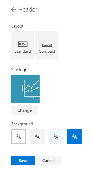 A SharePoint-webhelyek fejlécének elrendezése
