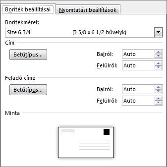 A boríték méretének és a címhez használt betűtípusnak a megadására szolgáló Boríték beállításai lap