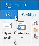 Képernyőkép – Outlook 2016 Fájl menüje
