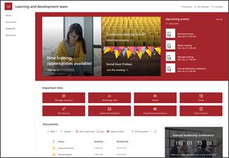A fejlesztőcsapat webhelysablonjának képe