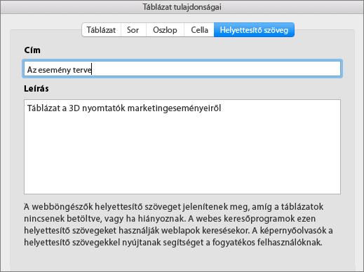 Képernyőkép a Táblázat tulajdonságai párbeszédpanel Helyettesítő szöveg lapjáról
