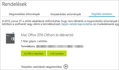 Az Office digitális megrendelésének, a termékkulcsának, az Office telepítésére szolgáló gomboknak és Microsoft-fiókja kezelésének megjelenítése.