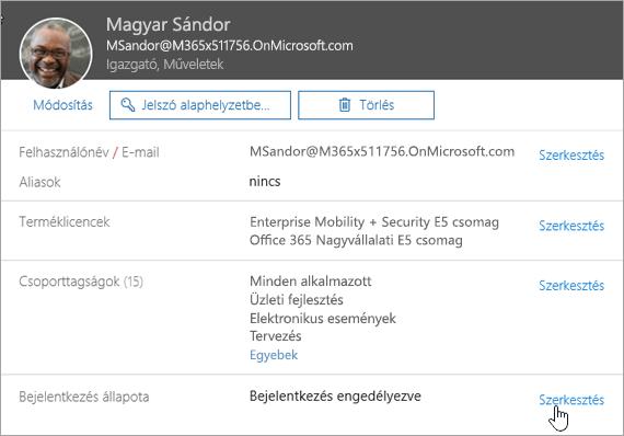 Képernyőkép egy felhasználó bejelentkezési állapotáról az Office 365-ben
