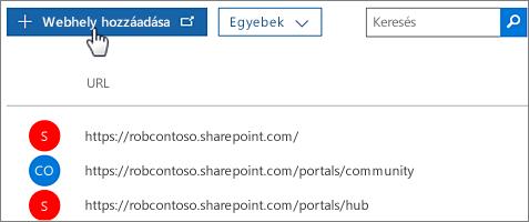 Az Office 365 Felügyeleti központ Webhelycsoport létrehozása funkciója