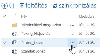 A OneDrive Vállalati verzióban egy dokumentum neve melletti három pontot választva megjelenik az előugró panel