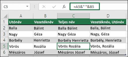 """használja az =A2&"""" """"&B2 függvényt a szöveg összefűzéséhez, például Keresztnév, Vezetéknév"""