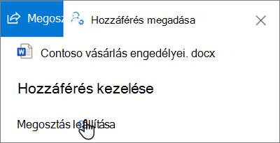 Képernyőkép: a megosztás megszüntetése hivatkozás az Access kezelése ablaktáblában, a megosztott általam nézet a OneDrive vállalati verzióban