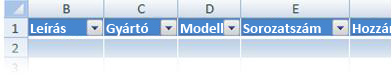 customizing the excel table headers