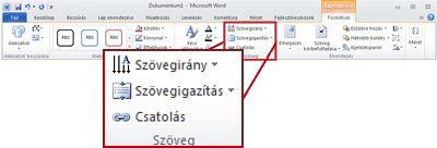 A Rajzeszközök Formátum lapja a Word 2010 menüszalagján