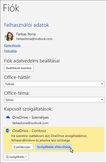 """Az Office alkalmazások Fiók munkaablaka Kapcsolt szolgáltatások részében a """"Szolgáltatás eltávolítása"""" lehetőség kijelölve"""