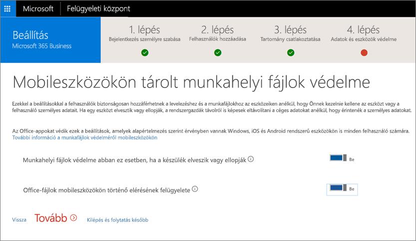Képernyőkép a Mobileszközökön tárolt munkahelyi fájlok védelme lapról