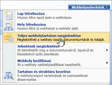 Webhelyműveletek menü a kiemelt Teljes webhelytartalom megjelenítése opcióval
