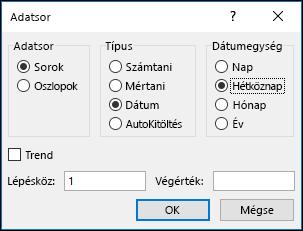 Az Excel kitöltés > Adatsor beállításai