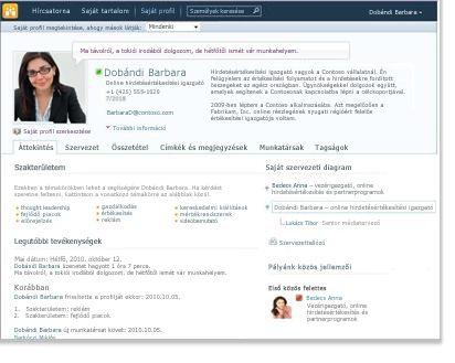 Profil a saját webhelyen