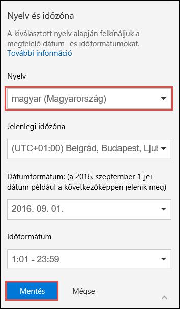 Képernyőkép a nyelvi beállításokról