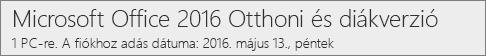 Az Office 2016 PC-hez készült verziójának megjelenése az Office.com/myaccount weblapon